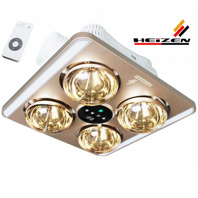 Đèn sưởi nhà tắm Heizen bốn bóng âm trần LED có điều khiển HE-9