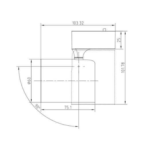 Kích thước của Đèn rọi ray 7W NNNC7601288/ NNNC7606288/ NNNC7601388/ NNNC7606388 Panasonic