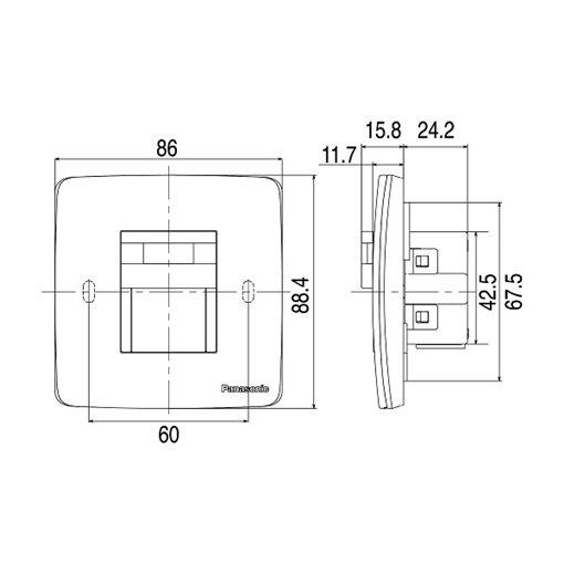 Kích thước của Đèn gắn tường soi lối đi có cảm biến màu trắng WMT707-VN Panasonic