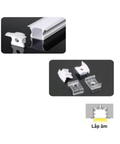 Nẹp nhôm lắp âm dùng cho LED dây trong nhà có chiều rộng 12mm NST-AB2414 Nanoco