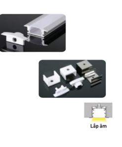 Nẹp nhôm lắp âm dùng cho LED dây trong nhà có chiều rộng 12mm NST-AB2507 Nanoco