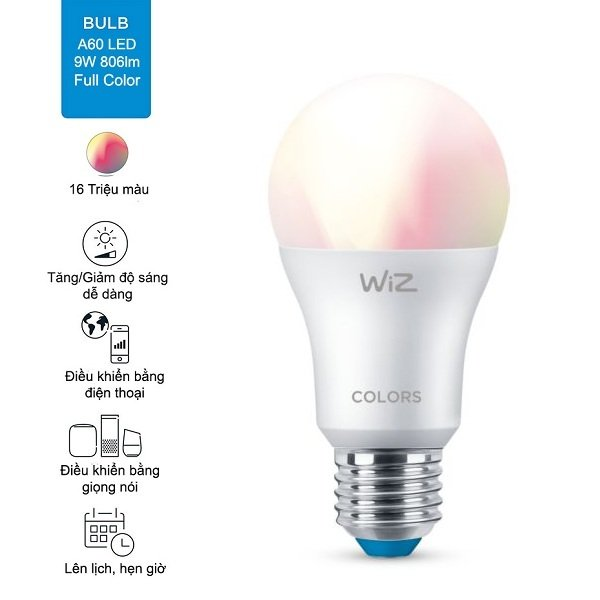 Bóng đèn thông minh 16 triệu màu WiZ sử dụng đui đèn E27